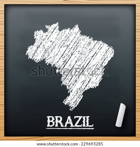 Brazil map chalkboard design effect in vector format - stock vector
