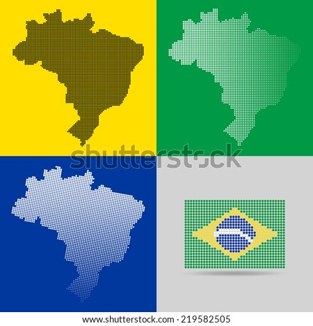 brazil map flag halftone dots set in vector format - stock vector