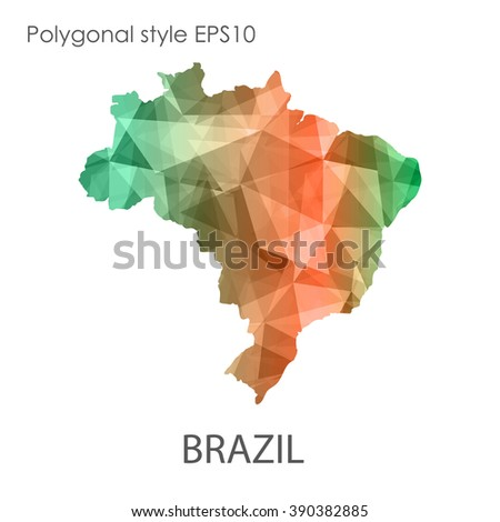 Brazil map in geometric polygonal style.Abstract gems triangle,modern design background. Vector illustration EPS10