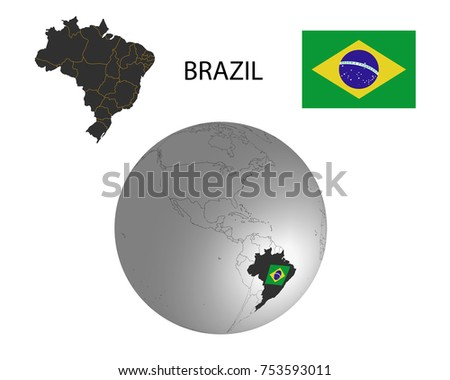 Brazil map on world map flag stock vector 753593011 shutterstock brazil map on a world map with flag in globewhite background gumiabroncs Images