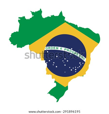 brazil map on brazil flag vector - stock vector