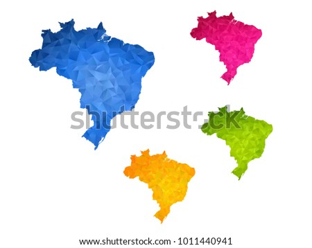 Brazil map - Set of geometric rumpled triangular low poly style gradient graphic background , polygonal design for your ,Vector eps 10.