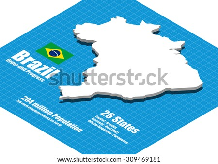 Brazil map vector three dimensional - stock vector