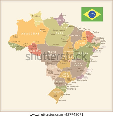Brazil map on world map flag vectores en stock 475267576 shutterstock brazil map vector vintage gumiabroncs Choice Image