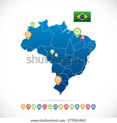 Brazil Map with Icons - stock vector