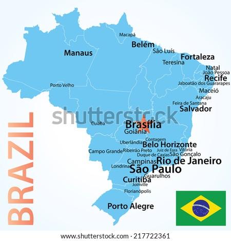 Brazil - map with largest cities, carefully scaled text by city population, geographically correct. - stock vector