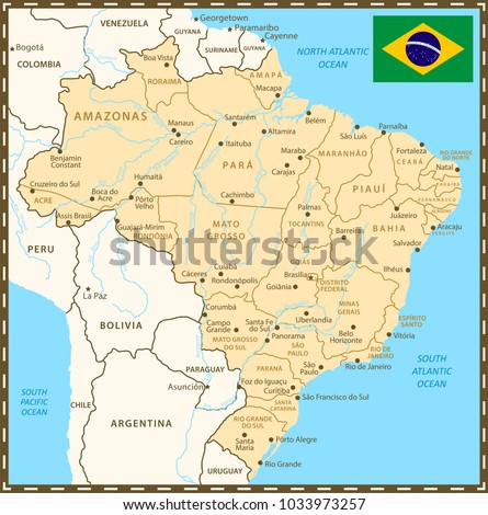 Brazil Map Neighboring Countries Rivers Administrative Stock Vector