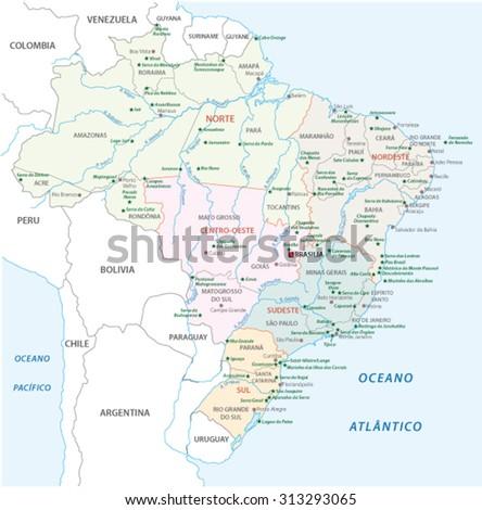 brazil national park map - stock vector