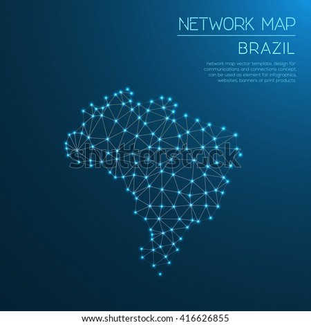 Brazil network map. Abstract polygonal map design. Internet connections vector illustration. - stock vector