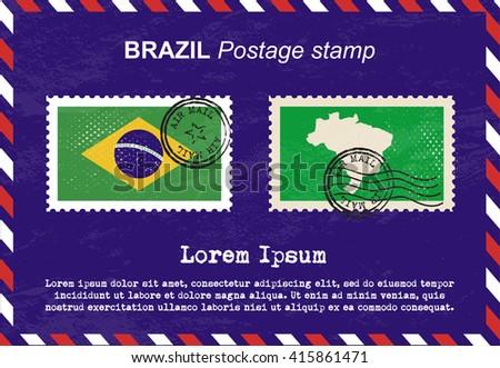 Brazil postage stamp, postage stamp, vintage stamp, air mail envelope. - stock vector