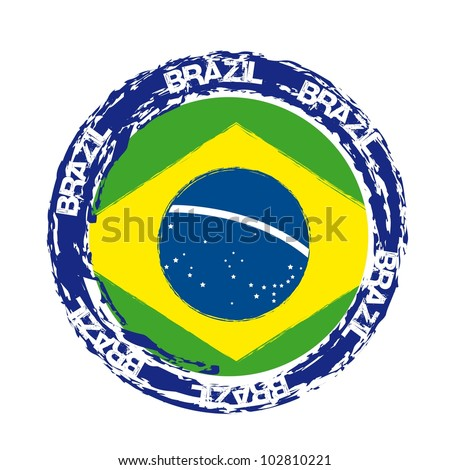 brazil seal with flag isolated over white background. vector illustration - stock vector
