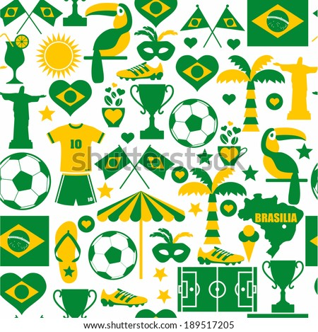 Brazil seamless pattern - stock vector