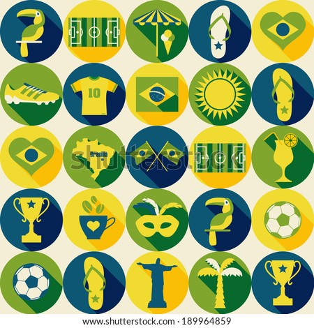 Brazil seamless pattern. icons set of Brazil! - stock vector