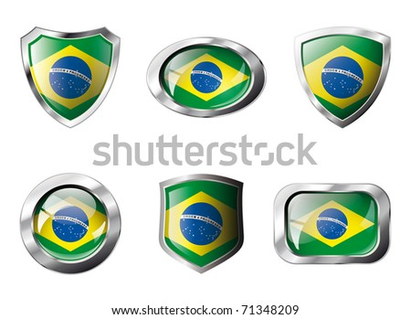 Brazil set shiny buttons and shields of flag with metal frame - vector illustration. Isolated abstract object against white background. - stock vector