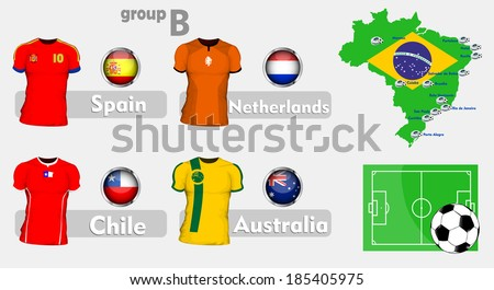 Brazil soccer championchip group - stock vector