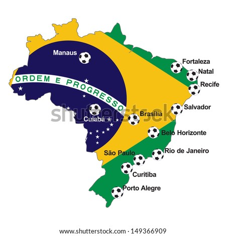 Brazil Soccer 2014 host cities MAP - stock vector