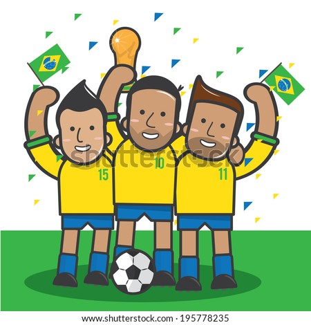 Brazil soccer player celebrate with trophy - vector  - stock vector