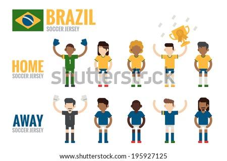 Brazil soccer team charactor flat design, vector - stock vector