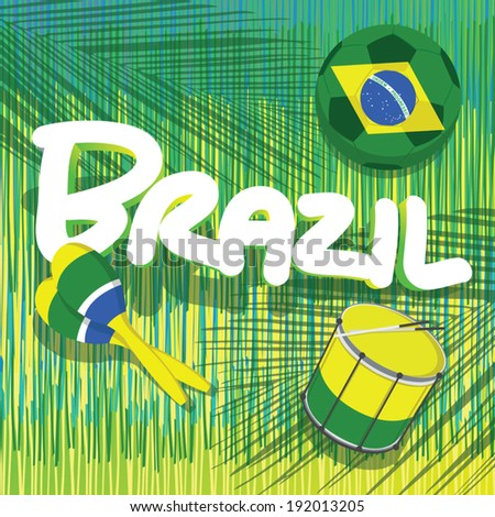 brazil soccer with tropical background - stock vector