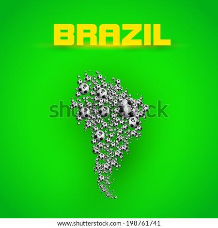 Brazil Summer, Map of Brazil with football ball  soccer ball    easy all editable - stock vector