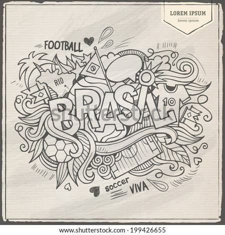 Brazil Summer Vector footbal hand lettering and doodles elements background - stock vector