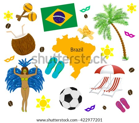 Brazil symbol, map and flag over white. Vector illustration