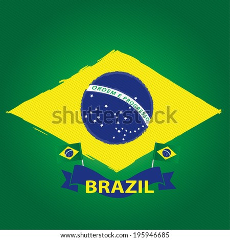 Brazil vector: A Watercolor Styled Brazil Flag - stock vector
