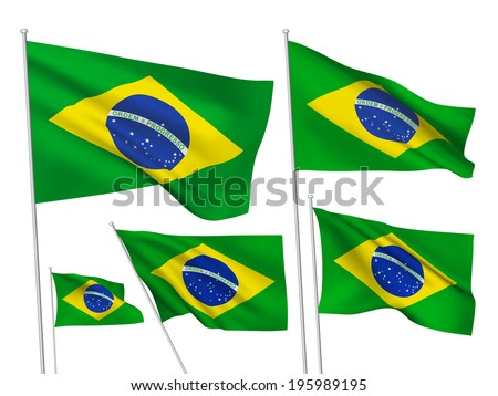 Brazil vector flags. A set of 5 wavy 3D flags created using gradient meshes. - stock vector