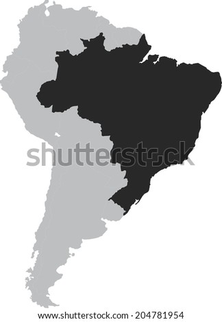 Brazil Vector Map South America Isolated Stock Vector 204781954