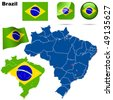 Brazil vector set. Detailed country shape with region borders, flags and icons isolated on white background. - stock vector
