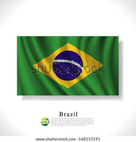 Brazil waving flag isolated against white background, vector illustration  - stock vector