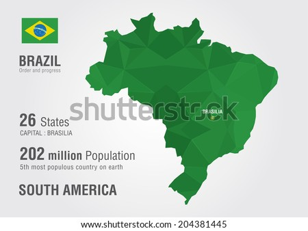 Brazil world map with a pixel diamond texture. - stock vector