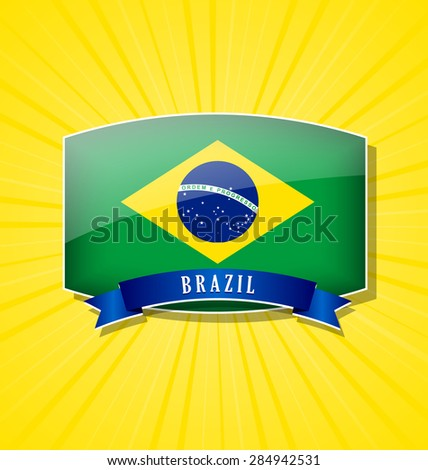 Brazilian bulged badge or icon with ribbon on yellow background - stock vector