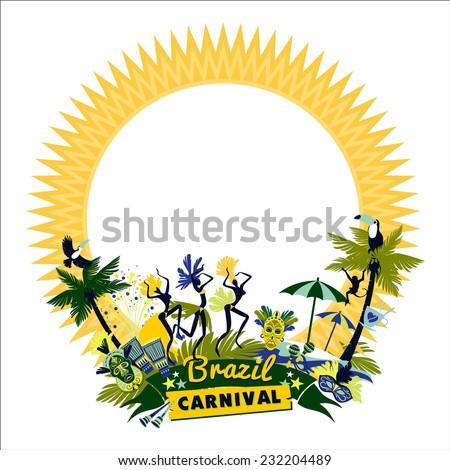 Brazilian Carnival. Vector colorful background.Frame for design.  - stock vector