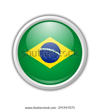 Brazilian circular shaped badge or icon with shadow on white background - stock vector