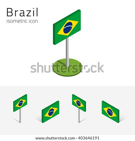 Brazilian flag (Federative Republic of Brazil), vector set of isometric flat icons, 3D style, different views. Editable design elements for banner, website, presentation, infographic, map. Eps 10 - stock vector