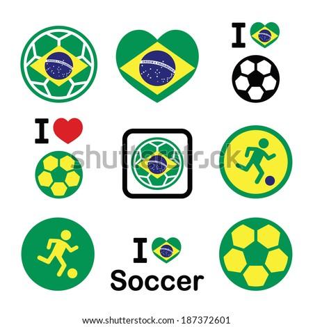 Brazilian flag, football or soccer ball icons set - stock vector