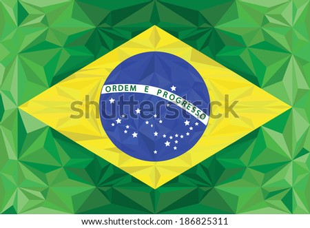 Brazilian flag modern polygons vector
