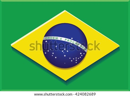 Brazilian flag.Vector illustration.