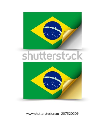 Brazilian flag with golden curled corner on white background - stock vector