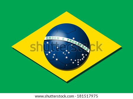 Brazilian flag with soccer ball - stock vector