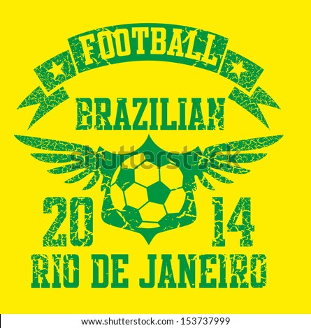 brazilian football retro style vector art - stock vector