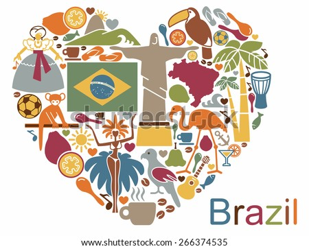 Brazilian icons in the form of a heart