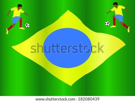 Brazilian kicks the ball  - stock vector