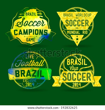 Brazilian labels, football theme, the concept of the labels on and abstract background, soccer, championship, brands painted watercolor paint in the colors of the flag of Brazil - stock vector
