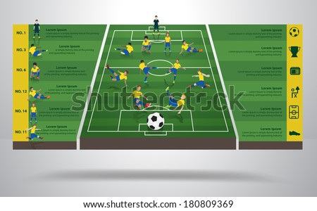 Brazilian soccer football player in different positions, Soccer field background, Soccer Icons, Modern infographics design identity template, layout, banner, diagram, options, Vector illustration - stock vector