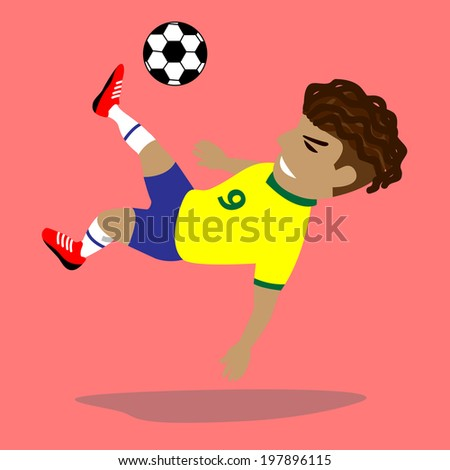 Brazilian Soccer Player Take a jump kick the ball