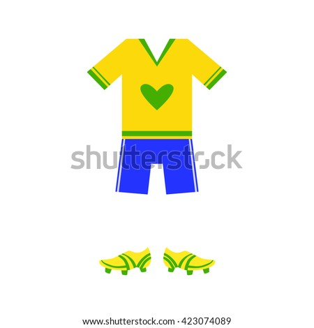 Brazilian Soccer Player Uniform Flat Isolated Colorful Vector Design Illustration On White Background - stock vector
