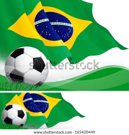 Brazilian soccer. Vector background and banner of soccer ball and Brazilian flag on green grass.