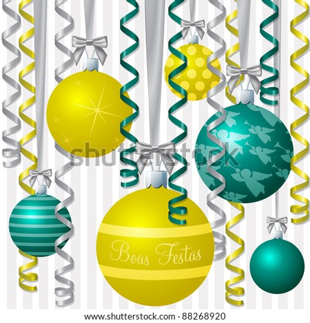 "Brazillian Portuguese aqua and yellow ribbon and bauble inspired ""Merry Christmas"" card in vector format. - stock vector"